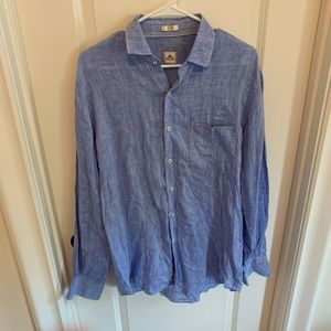 Peter Millar linen blue button down